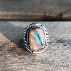 Vintage Sterling Silver Boulder Turquoise Ring